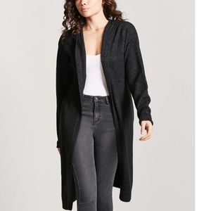 Forever 21 Black Hooded Duster Cardigan